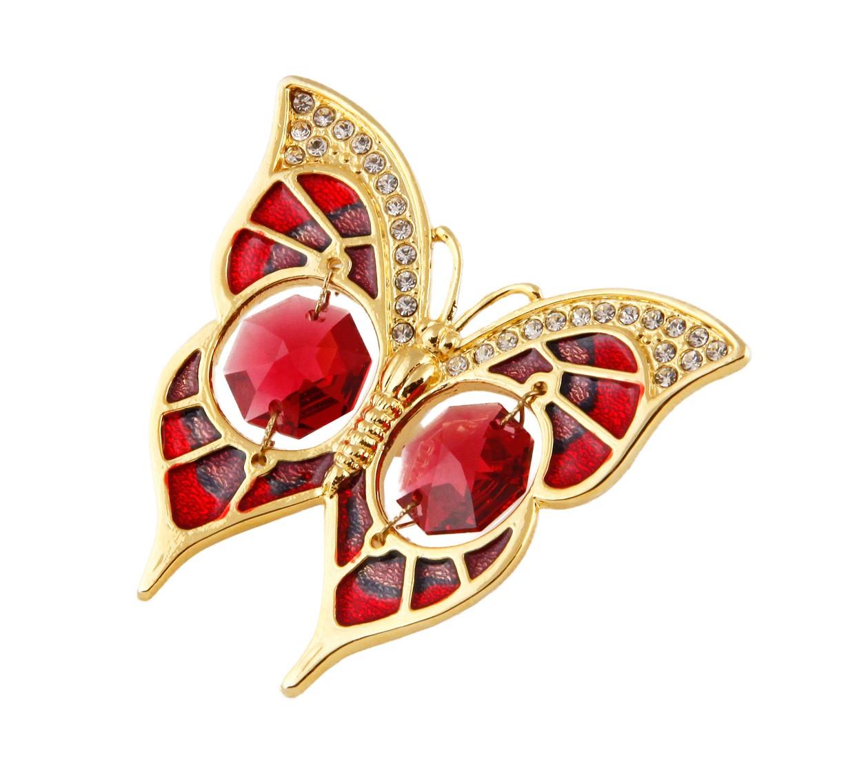 Fluture Bordeaux cu Cristale Swarovski - placat cu Aur 24K