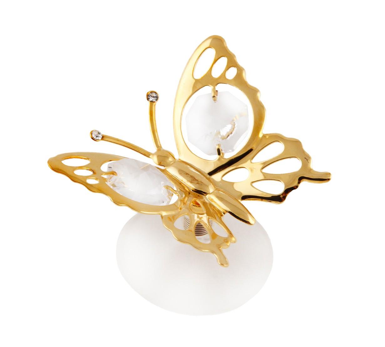 Fluture cu Cristale Swarovski - placat cu Aur 24K